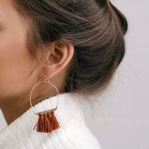 Gold and rust red tassel earrings
